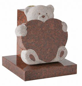 Granite Ruby Red Children's Headstone with Heart & Teddy - 16169