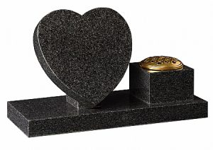 Dark Grey Granite Heart Cremation Memorial - 16201