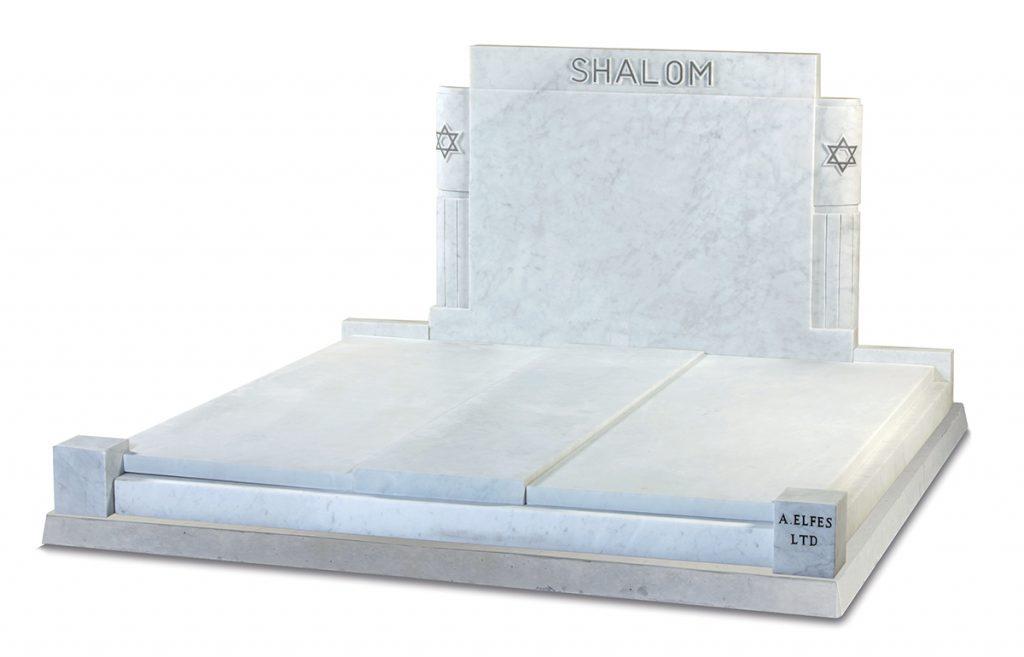 Italian White Marble Jewish Headstone - ED6A